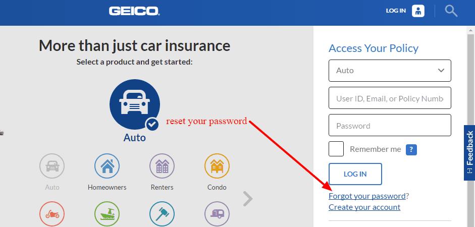 GEICO password reset