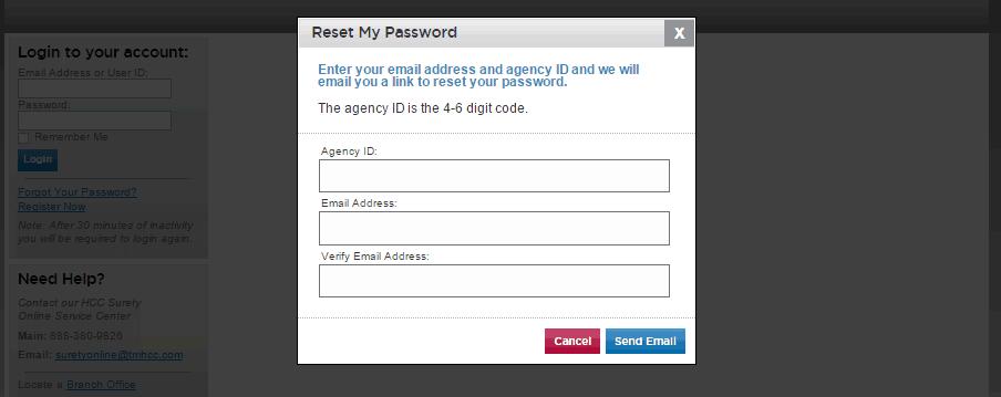 HCC password recovery