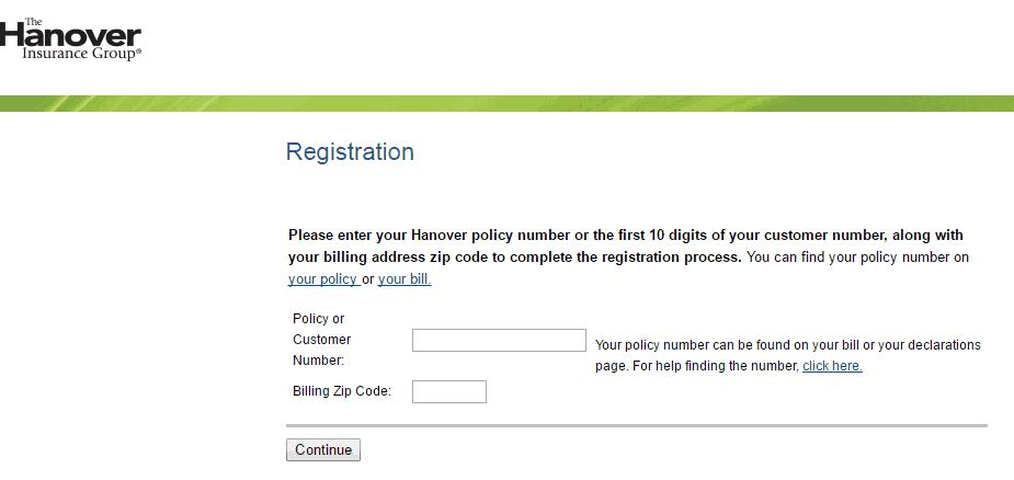 Hanover Insurance new user