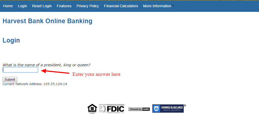 Harvest Bank Online Banking Question