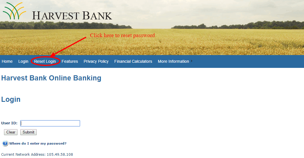 Harvest Bank Reset Login