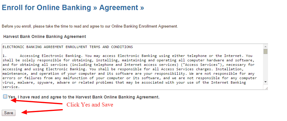 Harvest bank Online Banking agreement
