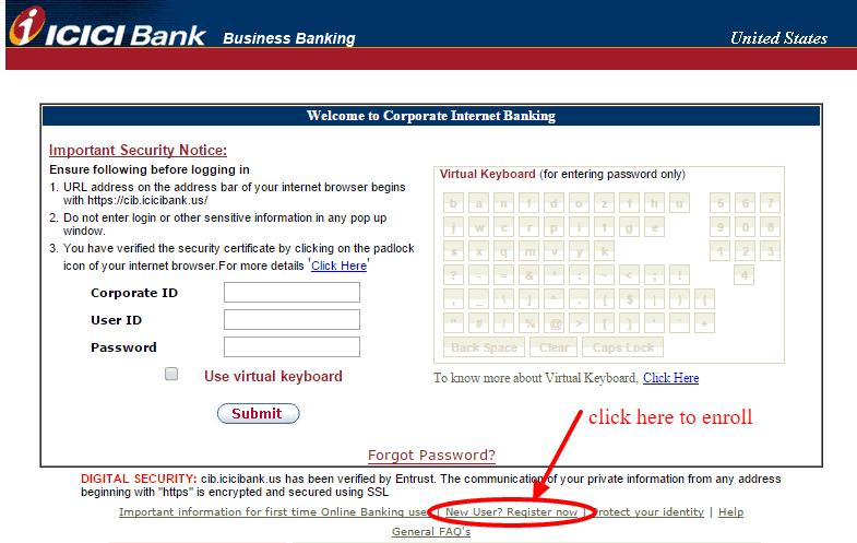 ICICI Bank Online Banking Enrollment