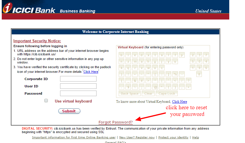 ICICI Bank Reset Forgot Password