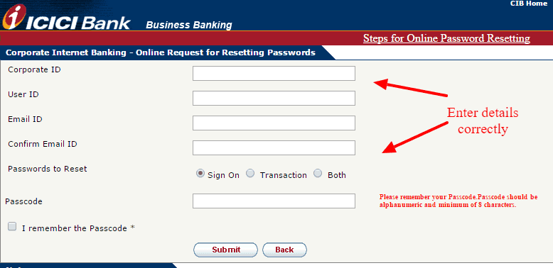 ICICI Bank Reset Password Option