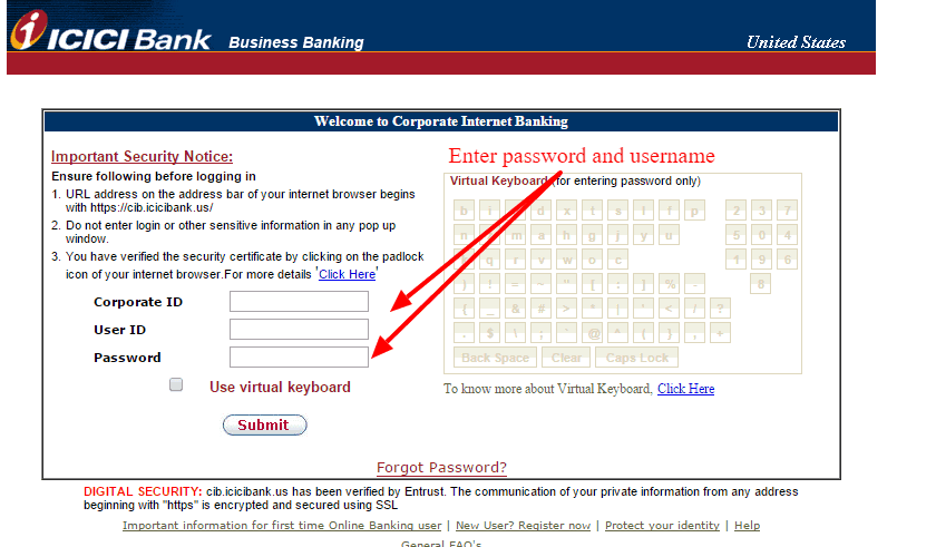 ICICI Bank User ID and Password