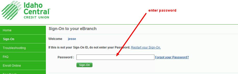 Idaho Central Credit Union Bank Password