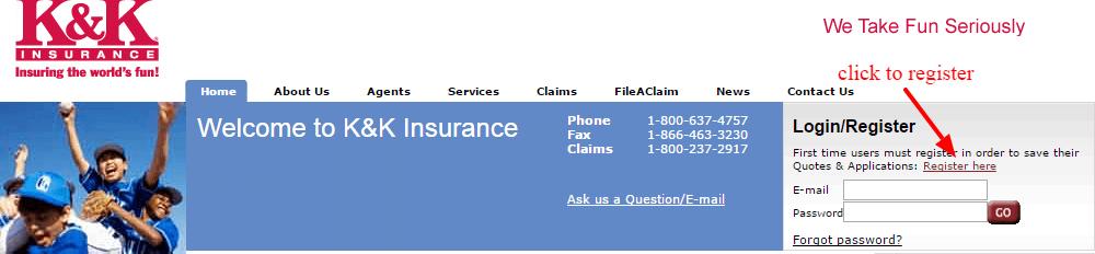 K K Insurance registration
