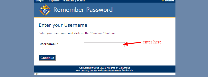 KOFC Remember Password