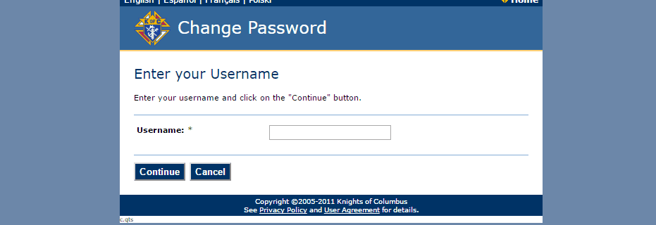 KOFC change password