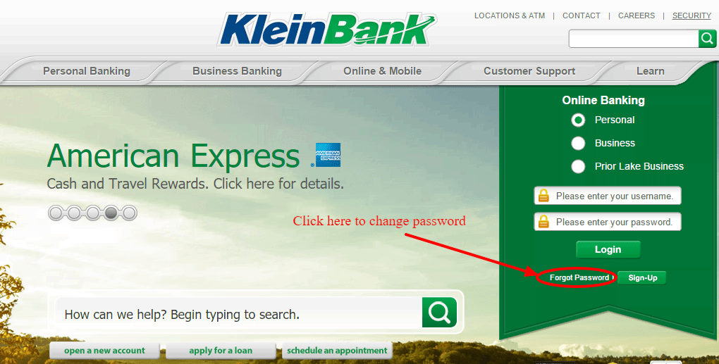 KleinBank Online Banking Change Password
