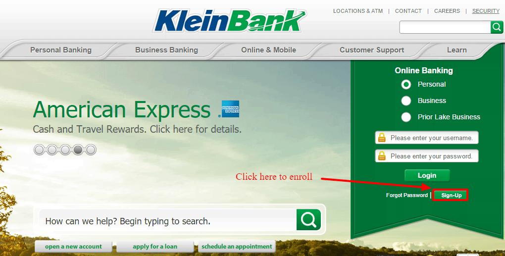 KleinBank Online Banking Enroll