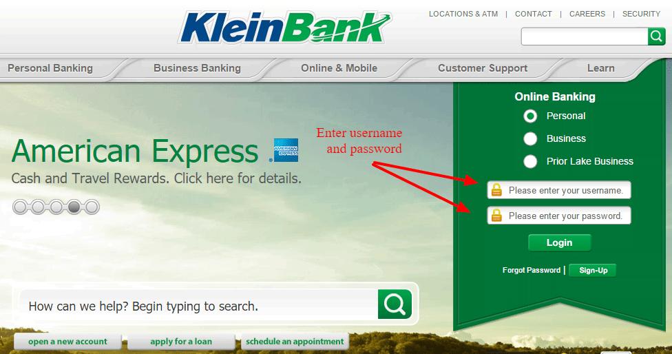 KleinBank Personal Banking Online Account Login