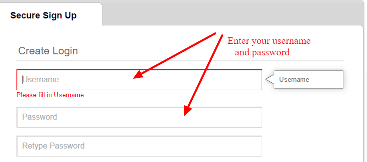 Create Username and Password KleinBank
