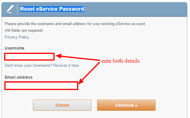 Liberty Mutual Reset-eService-password
