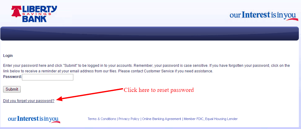 Liberty Savings Bank Password Reset Link