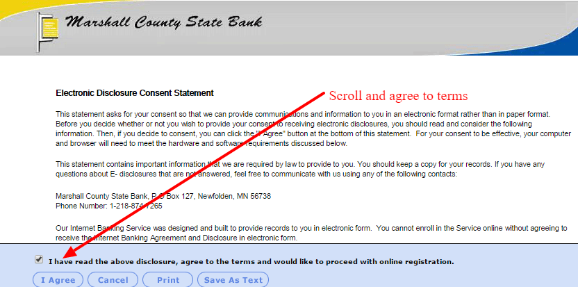 Marshall County State Bank Electronic Disclosure Agreement