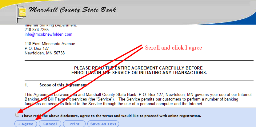 Marshall County State Bank Internet Banking Agreement