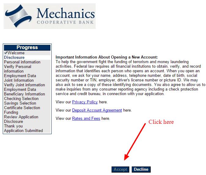 Mechanics Cooperative Bank Customer Disclosure