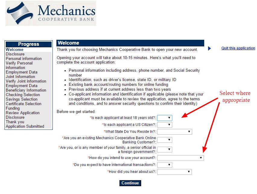 Mechanics Cooperative Bank Disclosure