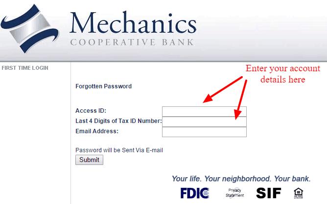 Mechanics Cooperative Bank Forgotten Password