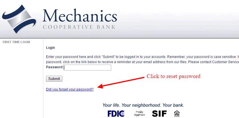 Mechanics Cooperative Bank Password Reset