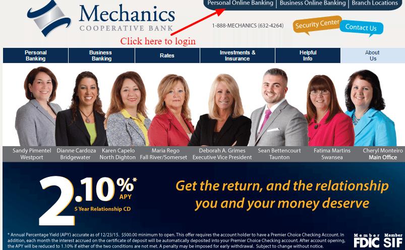 Mechanics Cooperative Bank Personal Banking Login