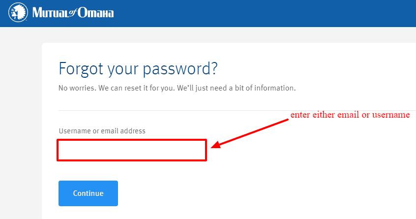 Mutual of Omaha password reset