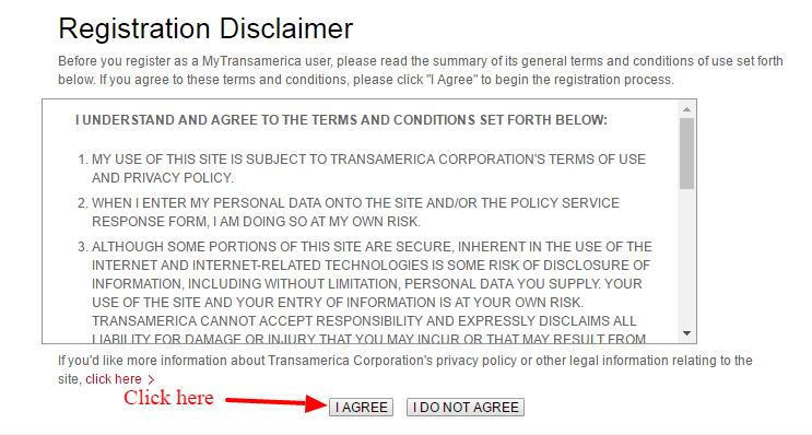 MyTransamerica Disclaimer