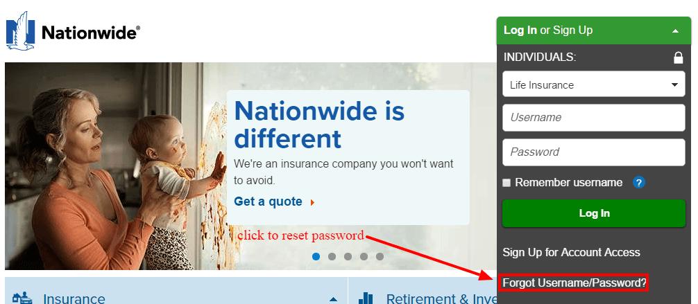 Nationwide insurance password-reset