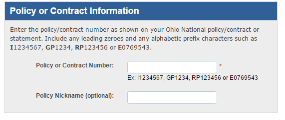 Ohio National Online policy info