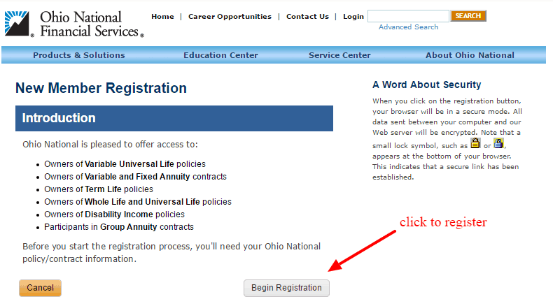 Ohio National Online registration-2