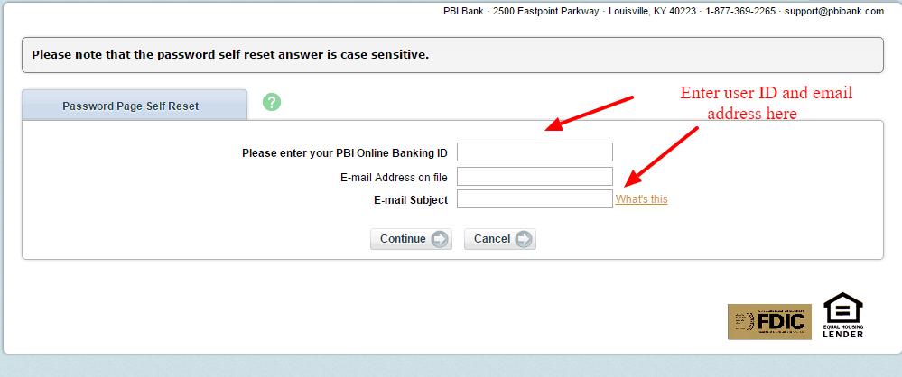 PBI Bank Reset Password