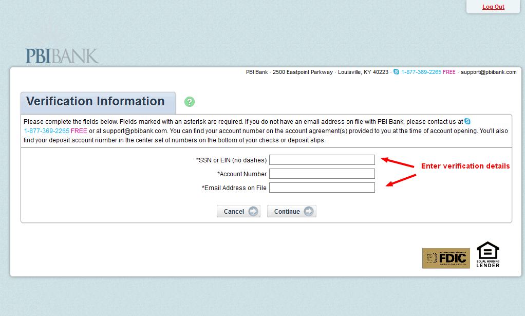 PBI Bank Verification Information