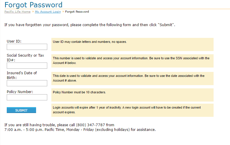 Pacific Insurance Passwordhelp