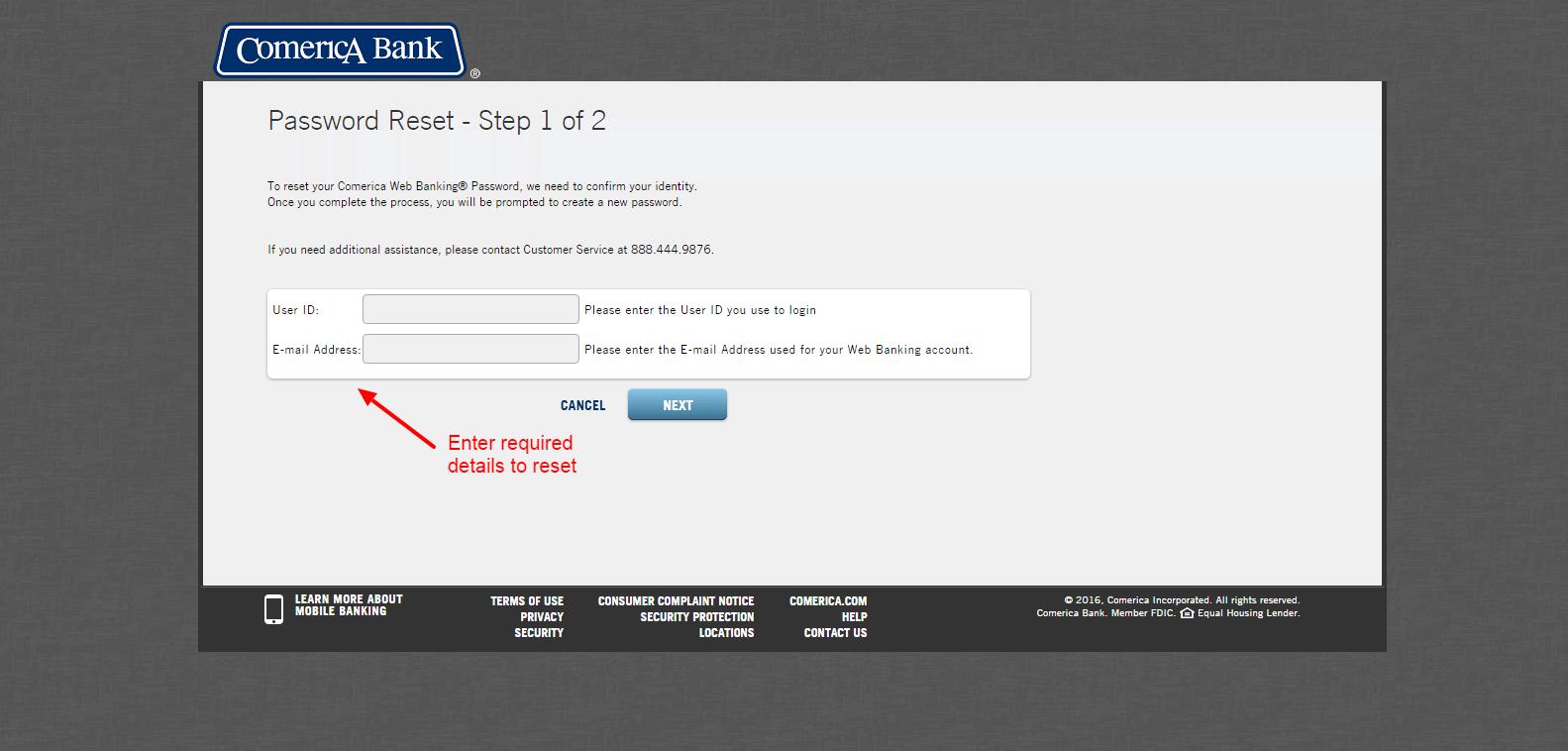 comerica customer service number