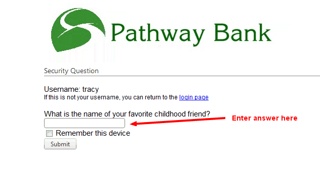 Pathway Bank Online Banking Question