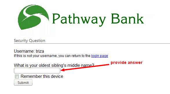 Pathway Bank Online Password Reset Question