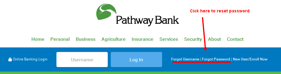 Pathway Bank Reset Password