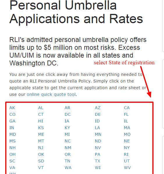 Personal umbrella state