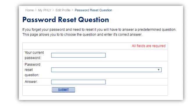 Phly password reset question
