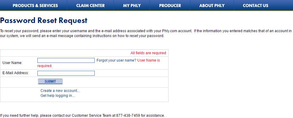 Phly password reset