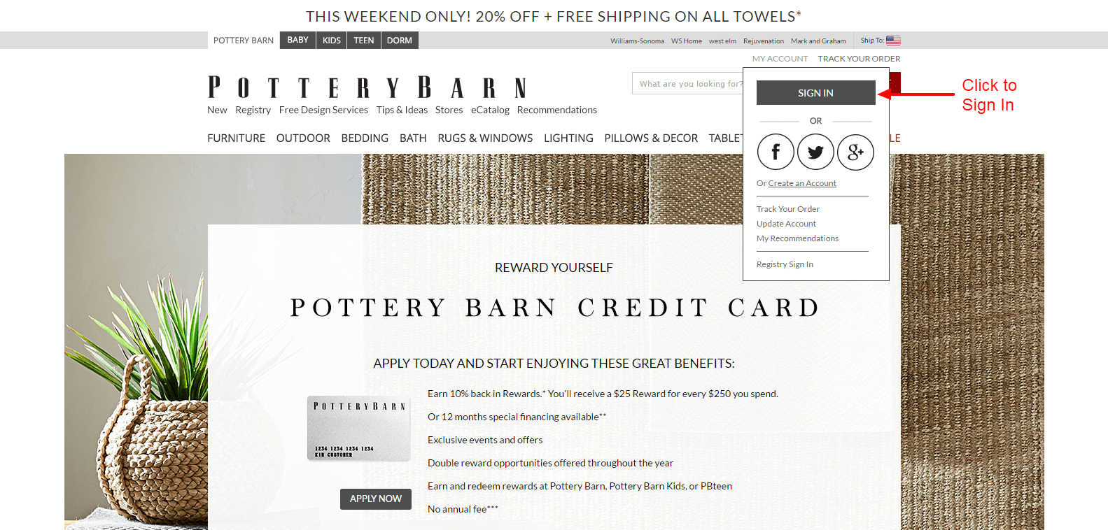Pottery barn credit card phone number