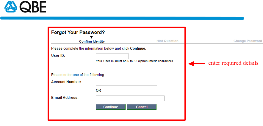 QBE forgot password