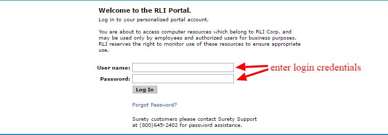 RLI portal login