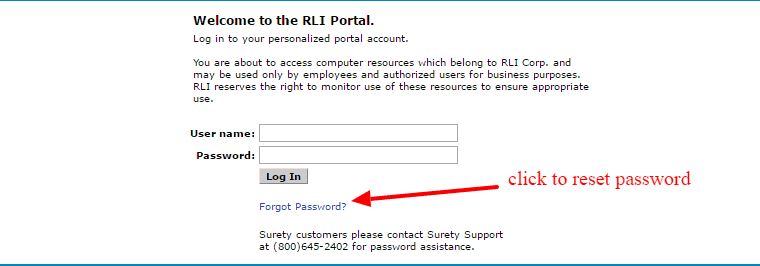 RLI reset password