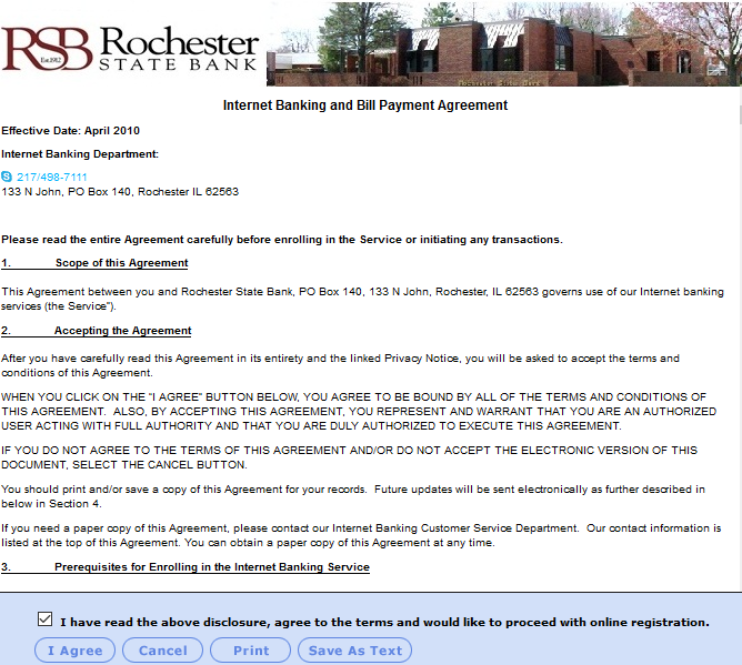 Rochester State Bank Online Banking Agreement