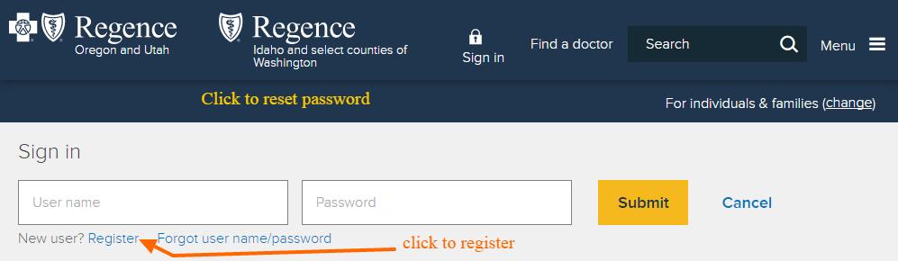 Regence insurance registration2
