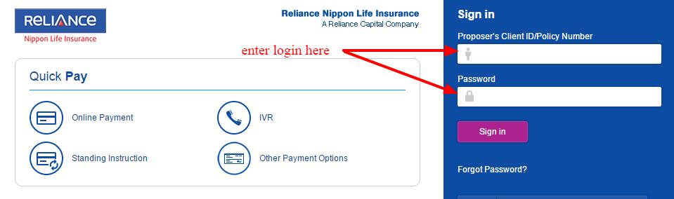 Reliance login-area