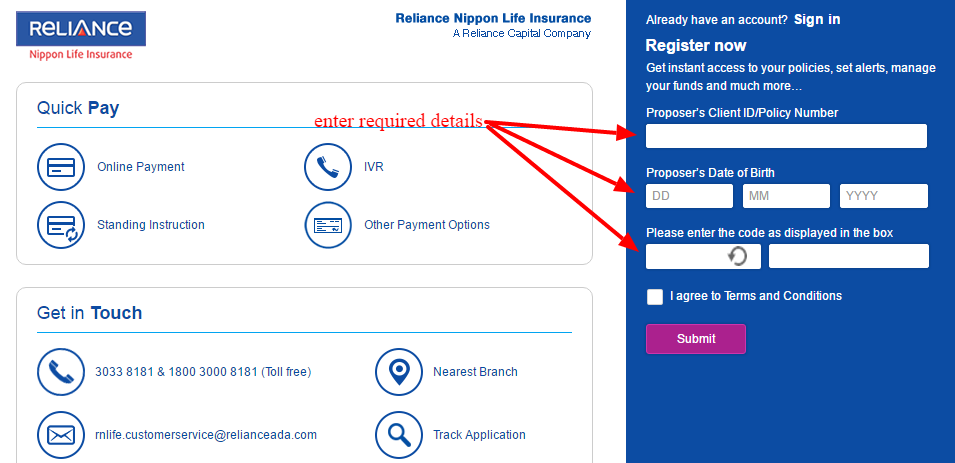 Reliance Nippon Life Insurance Online Login - CC Bank